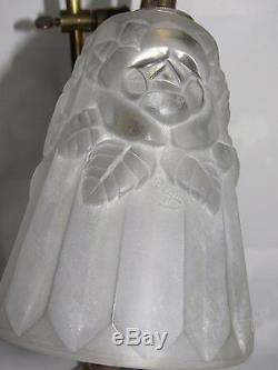 08d5 Ancienne Lampe Orientable Bureau Art Déco Tulipe Verre Moule Signe Degue