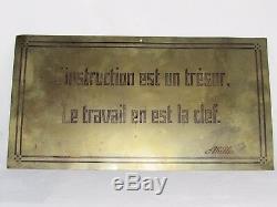 11d17 Ancienne Plaque En Laiton De Bureau Professeur Ecole Citation Abille Loft