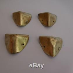 17 pièces ferronnerie laiton malle couture cuir Belle époque art nouveau XXe PN