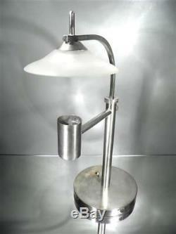 1930 Europe Bauhaus Grande Lampe De Bureau Moderniste En Métal Et Verre Art Déco