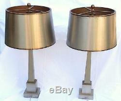 1950/70 Lampes Aux Obélisques, Laiton et Bronze Argent et Dorées Signées Charles
