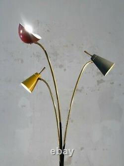 1950 LAMPADAIRE TRIPODE MODERNISTE SHABBY-CHIC Lunel Mategot Stilnovo Arredoluce