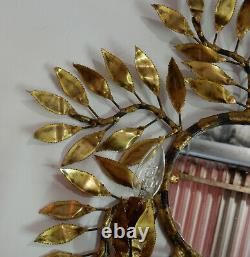 1970 Applique Éclairante en Laiton Maison Jansen 2 Lumières Et Miroir Baroque