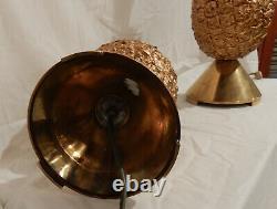 1970' Paire de Lampes Ananas Laiton Et Aluminium