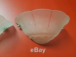 2 Appliques art deco en verre givré taillé laiton degué paire d applique