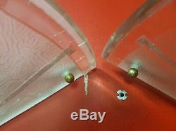 2 Appliques art deco en verre moulé boule laiton degué paire d applique