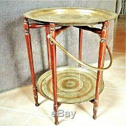 2 Plateaux à servir en laiton, table basse pliante d'époque Art-Déco vers 1930