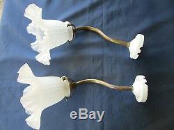 2 appliques tulipes cols de cygne griffe douille laiton rosace porcelaine ancien