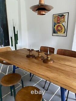 3 Bougeoirs Art Déco / Piques Cierge Chêne Laiton / Moderniste / 22cm TBE
