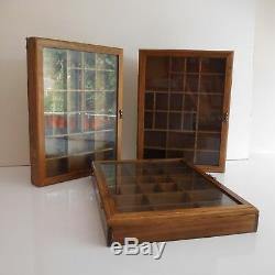 3 vitrines collectionneur bois verre laiton fait main vintage XXe PN France
