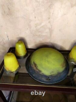 4 tulipes et vasque signé Degué Art Déco Pate de Verre pour lustre