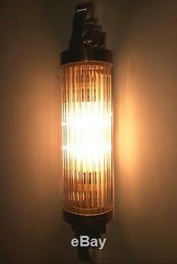 6pc Ancien Art Deco Skyscraper Laiton & Glass Rod Lumiere Appliques murale Lampe