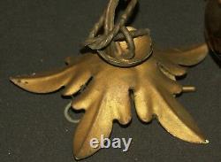 AA 1930 grand lustre lampe plafonnier art deco laiton et verre fumé doré chic