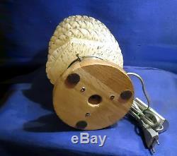 ANCIEN GLOBE LAMPE PLAFONNIER VERRE Dlg CLICHY SOCLE LAITON ET CHÊNE MASSIF