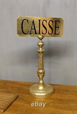 ANCIEN PANNEAU de Comptoir magasin CAISSE en laiton bar métier plaque enseigne