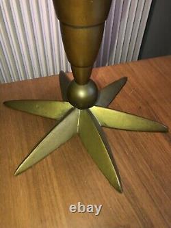 ART DECO Lampe en Verre, laiton et bois à pied Étoile