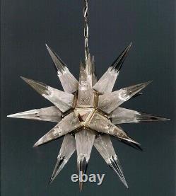 Ancien Art Deco Crystal Star Light Laiton Eclairage Lustre Au Plafond Lampe