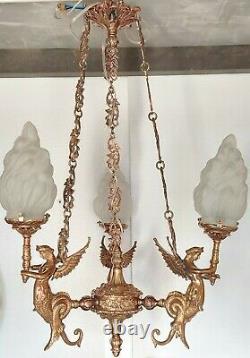 Ancien Art Nouveau Laiton & Glass Eclairage Lustre au plafond Lampe