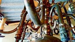 Ancien Grand Lustre Hollandais 12 Feux Bronze Et Laiton Aigle Bicéphale
