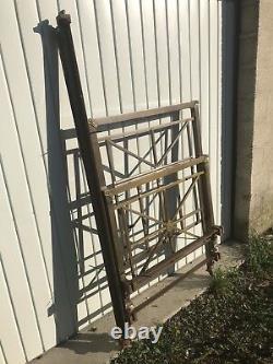 Ancien Lit à Barreaux Laiton ART DECO 1 Personne Démontable + Roulettes Vintage