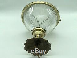 Ancien Luminaire 1930, Suspension Verre & Laiton, Hauteur 24 Cm. Diamètre 20 CM