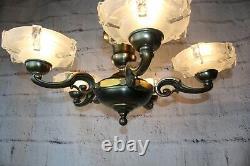 Ancien Lustre En Laiton Style Ezan Art Deco