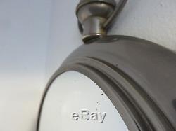 Ancien Miroir Forme Gousset En Laiton Nickele Art Deco Annees 30 40