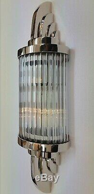 Ancien Old Art Deco Nickel Laiton & Glass Rod Lumiere Appliques murale Lampe