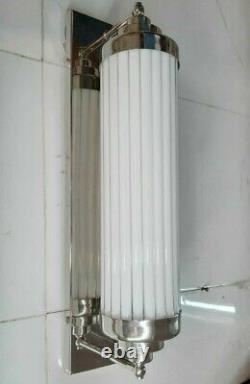 Ancien Old Art Deco Nickel Laiton & Glass Rod Lumiere Appliques murale Lampe