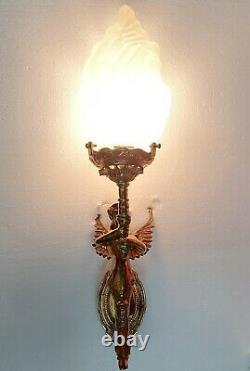 Ancien Old Art Deco Nouveau Laiton & Glass Lumiere Appliques murale Lampe