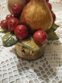 Ancien Panier Laiton avec Fruits en Barbotine Céramique Trompe-il, Art déco