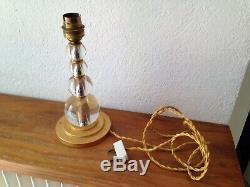 Ancien et superbe pied de lampe en laiton doré & verre MORAND PARIS dlg ADNET