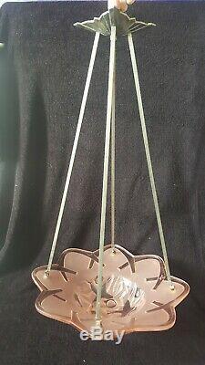 Ancien lustre DEGUE suspension vasque rose Art Déco Monture laiton bronze 1930