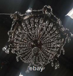 Ancien lustre en cristal baccarat laiton