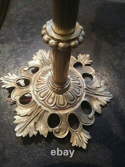 Ancien lustre plafonnier bronze/laiton 3 feux pâte verre lampe ART DECO TBE
