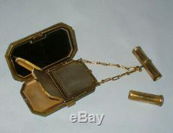 Ancien sac à main / poudrier minaudiere galuchat & laiton Epoque Art Deco 1920