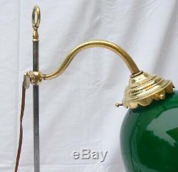 Ancienne LAMPE de BUREAU télescopique art déco 1930 laiton tulipe verte