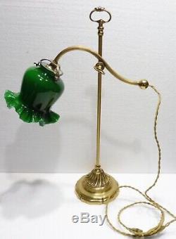 Ancienne LAMPE de bureau orientable laiton doré tulipe opaline verte