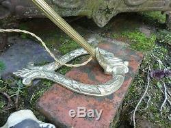 Ancienne LAMPE pied lyre en LAITON avec TETE articulée ELECTRICITE refaite TBE