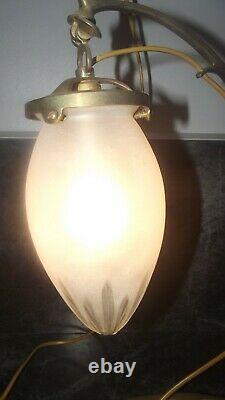 Ancienne Lampe Articulée Tulipe Verre Givre Art Nouveau Deco Majorelle