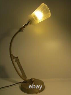 Ancienne Lampe Bureau Art Deco En Laiton/old Lamp/luminaire Articule/de Chevet/