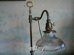 Ancienne Lampe De Bureau Notaire Banquier Laiton 1900 Tulipe Holophane Art Deco