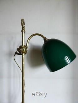 Ancienne Lampe Lampe Bureau Tulipe Verre Opaline Art Deco 1920/30 Brevette Paris