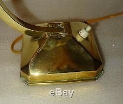 Ancienne Petite Lampe De Bureau De Notaire Reglable En Laiton Des Annees 50-60