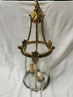 Ancienne lanterne suspension de hall en bronze doré ou laiton 3 flèches et verre