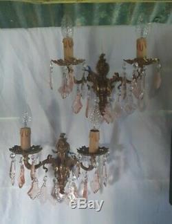 Ancienne paire d'applique murale pampille de verre de couleur rose et laiton