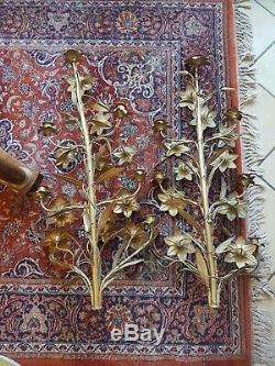 Ancienne paire d elements de chandelier ou appliqué en laiton