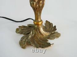 Ancienne paire de lampes de table pied laiton et abat-jour noir