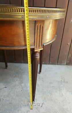 Ancienne table Bouillotte basse ronde art-déco Acajou laiton année 50