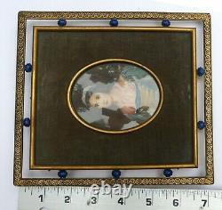 Antique Laiton Art Déco Cadre & 19th C Main Peint Femme Miniature Portrait Singe